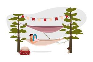 fim de semana romântico ao ar livre ilustração vetorial 2d vetor