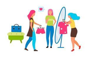 assistente de vendas de moda feminina personagens vetoriais de cor semi-plana vetor