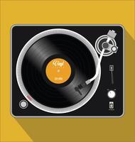 Ilustração em vetor simples preto e branco de toca-discos