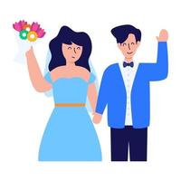 noiva noivo e casal vetor