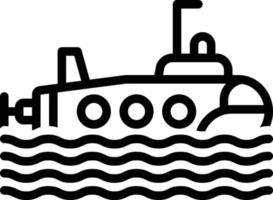 ícone de linha para submarino vetor