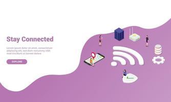 conceito de ficar conectado com sinal wi-fi para modelo de site vetor
