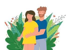 mulher grávida com o marido segurando a barriga vetor