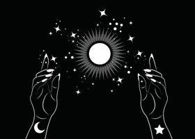 mulher mística mãos alquimia esotérica mágica sol símbolo geometria sagrada vetor