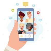 mão segurando smartphone com chat de vídeo online vetor