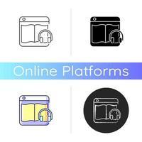 ícone de plataformas online de audiolivro vetor