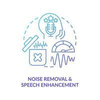 ícone de conceito de gradiente azul de remoção de ruído vetor