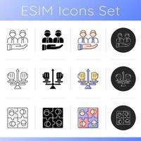 trabalhando juntos conjunto de ícones vetor