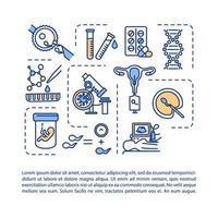 ícone do conceito de tecnologia de reprodução assistida com texto vetor