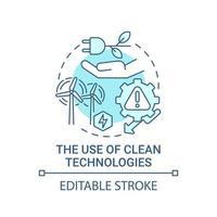 uso de ícone de conceito azul de tecnologias limpas vetor
