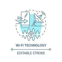 ícone de conceito azul de tecnologia wi-fi vetor