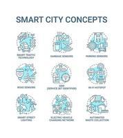 conjunto de ícones do conceito smart city blue vetor