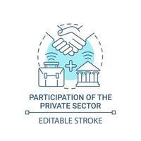 participação do ícone do conceito azul do setor privado vetor