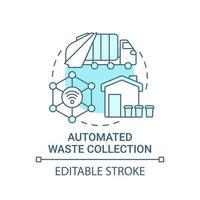 ícone de conceito azul de coleta automática de resíduos vetor