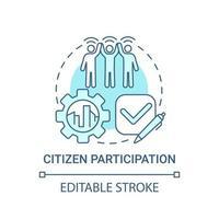 ícone de conceito azul de participação cidadã vetor