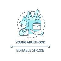 ícone de conceito de problema de idade adulta jovem vetor