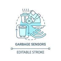 ícone de conceito azul de sensores de lixo vetor