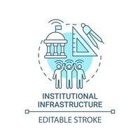 ícone de conceito azul de infraestrutura institucional vetor