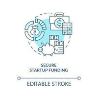 ícone de conceito azul de financiamento de inicialização segura vetor