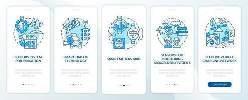 smart city projeta tela azul da página do aplicativo móvel de integração vetor