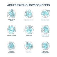 conjunto de ícones de conceito azul de psicologia adulta vetor