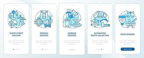 tela da página do aplicativo móvel de integração de infraestrutura de cidade inteligente azul vetor