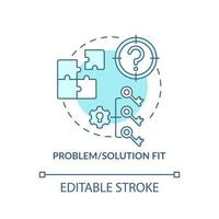 problema, solução se encaixa no ícone do conceito azul vetor