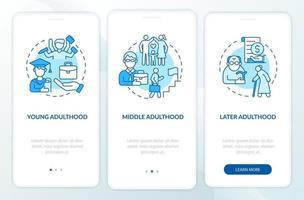 tela da página do aplicativo móvel de integração do ciclo de vida adulto vetor