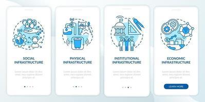 tela da página do aplicativo móvel de integração de pilares da cidade inteligente azul vetor