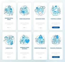 tela da página do aplicativo para dispositivos móveis de integração para a idade adulta vetor