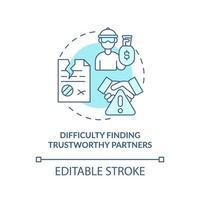 dificuldade em encontrar parceiro confiável ícone de conceito azul vetor