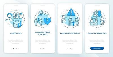 problemas financeiros na tela da página de integração do aplicativo móvel vetor