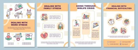 lidando com modelo de folheto de estresse no trabalho vetor