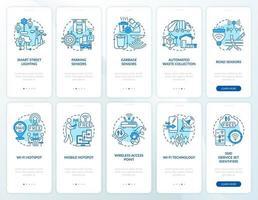 conjunto de tela de aplicativo móvel de integração de área urbana inteligente azul vetor