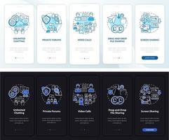 tela da página do aplicativo móvel de integração do serviço de chat de negócios vetor