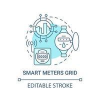 ícone de conceito de grade azul de medidores inteligentes vetor