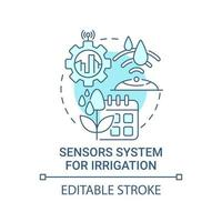 sistema de sensor para ícone de conceito azul de irrigação vetor