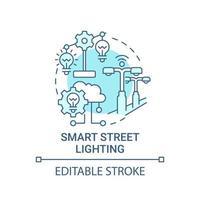 ícone do conceito de iluminação inteligente de rua azul vetor