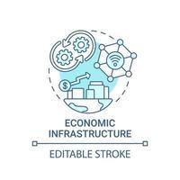ícone de conceito azul de infraestrutura econômica vetor
