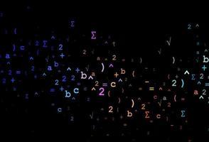 pano de fundo escuro multicolorido do vetor do arco-íris com elementos de álgebra.