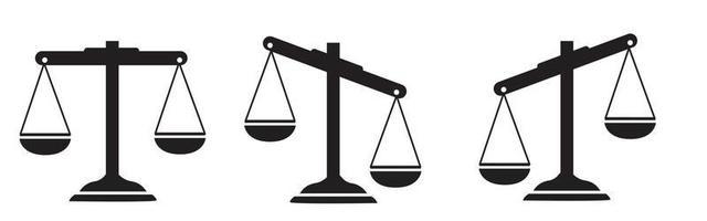 justiça dimensiona o conjunto de ícones. escala coleção de ícones. ícone de escala de lei vetor