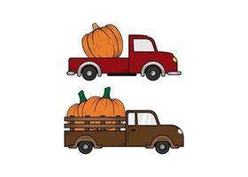 modelo de design de ilustração desenhada à mão de caminhão de abóbora isolado vetor