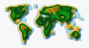 mapa-múndi do vetor estilo papercut. fundo de ecologia topográfica da terra.