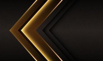 abstrato ouro luz seta direção hexágono malha design futurista vetor