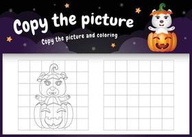 copie o jogo de crianças e a página para colorir com um urso polar fofo vetor