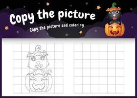copie o jogo de imagem para crianças e a página para colorir com um lindo gato preto vetor