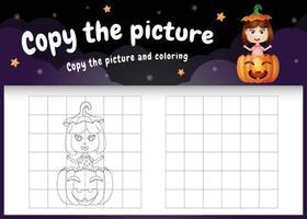 copie o jogo de crianças e a página para colorir com uma linda garota vetor