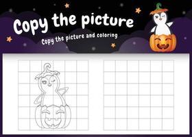 copie o jogo de imagens para crianças e a página para colorir com um pinguim fofo vetor