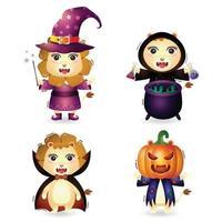 leões fofos com fantasia de coleção de personagens de halloween vetor