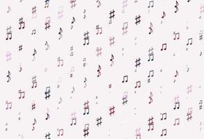 fundo vector azul e vermelho claro com símbolos musicais.